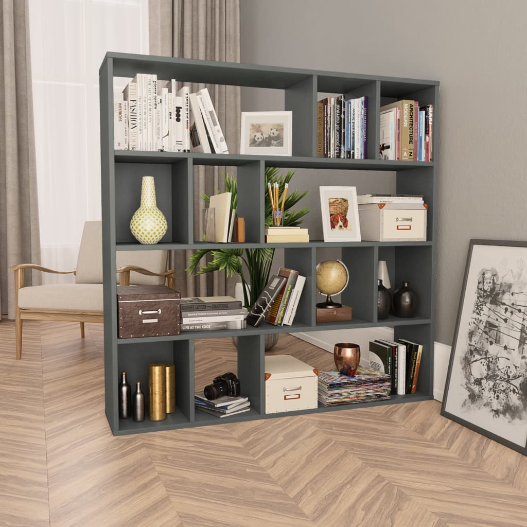 Room Divider/Book Cabinet Grey 110x24x110 cm Chipboard 1