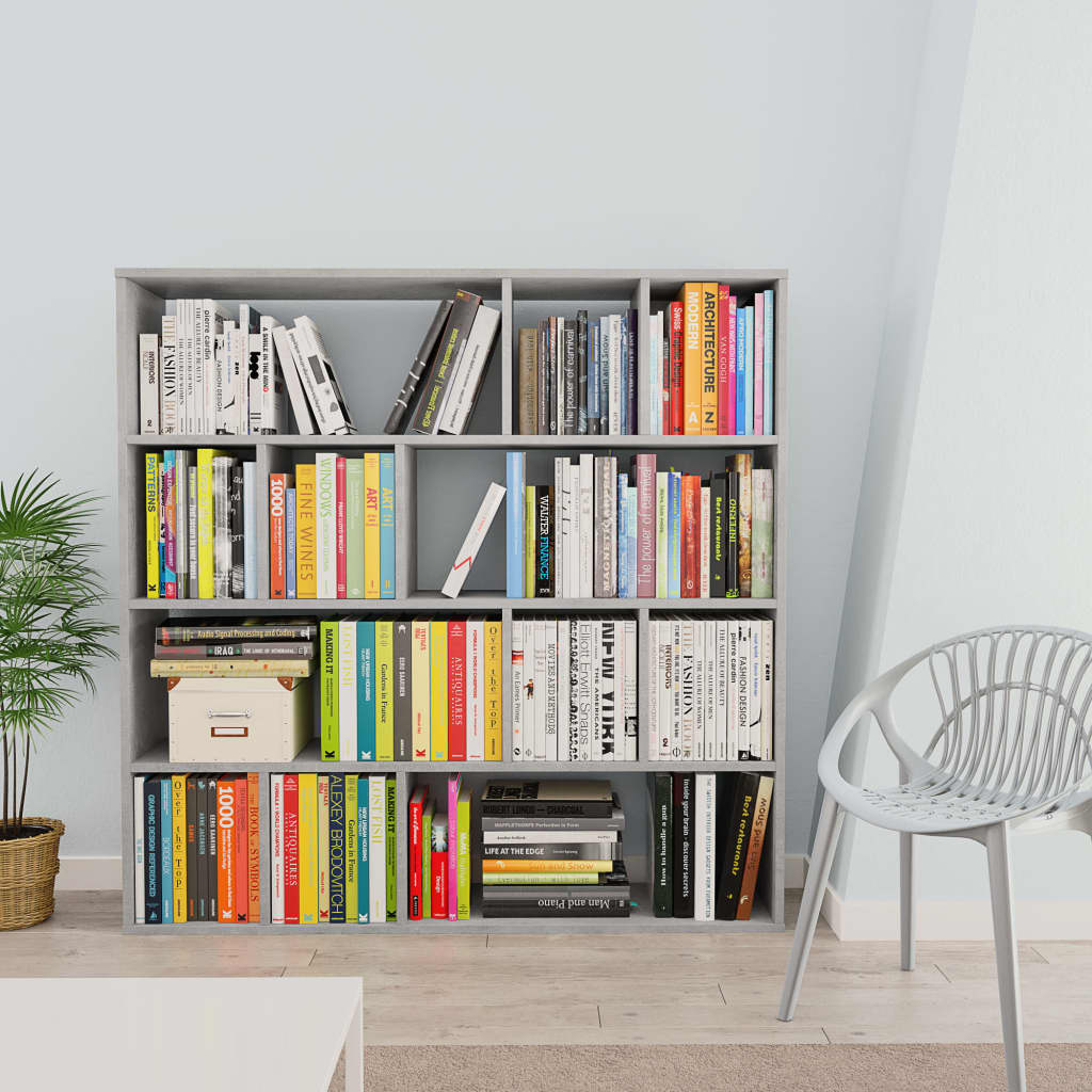 Room Divider/Book Cabinet Concrete Grey 110x24x110 cm Chipboard 3