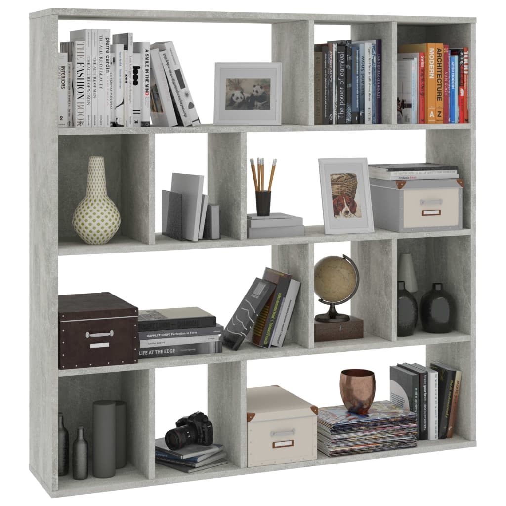 Room Divider/Book Cabinet Concrete Grey 110x24x110 cm Chipboard 4