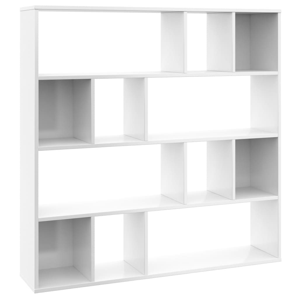 Room Divider/Book Cabinet High Gloss White 110x24x110 cm Chipboard 2