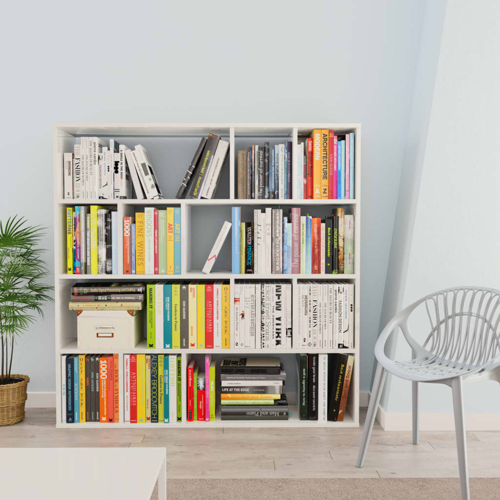Room Divider/Book Cabinet High Gloss White 110x24x110 cm Chipboard 3
