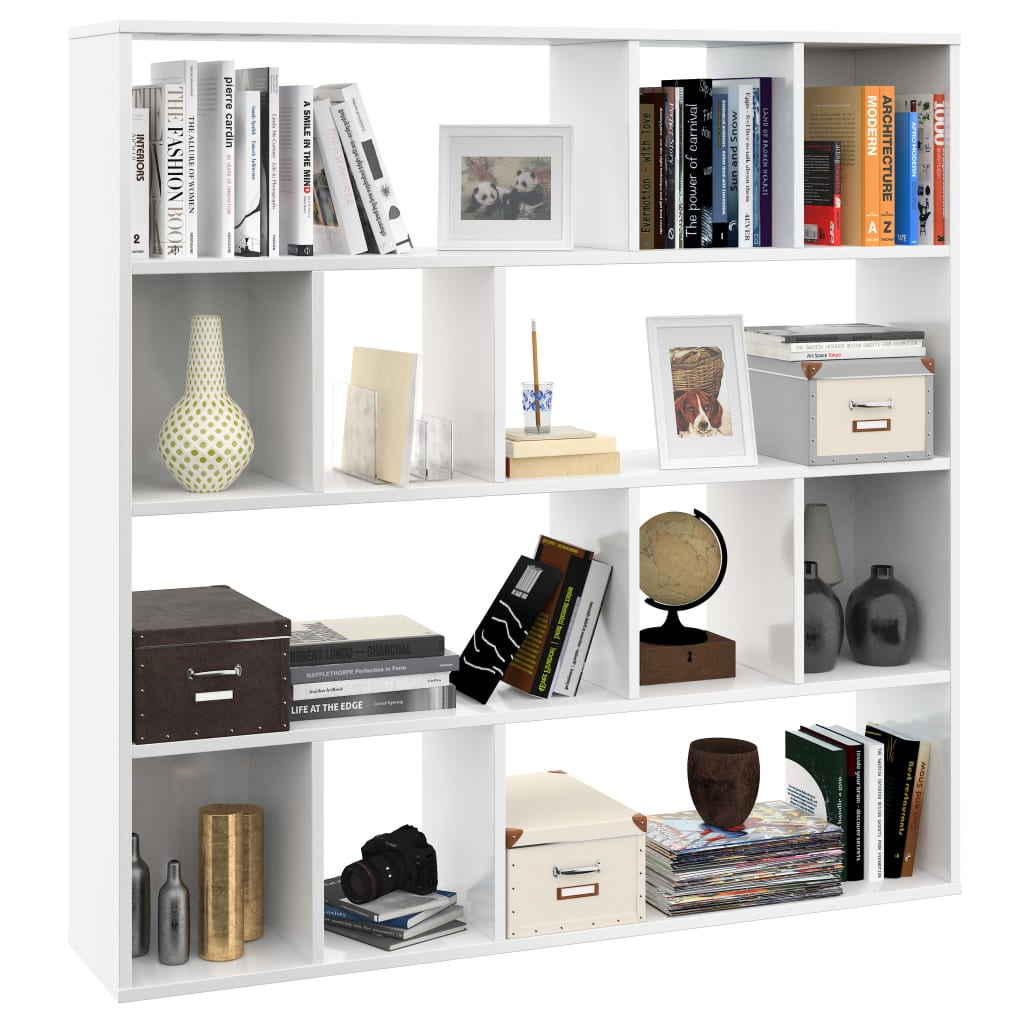 Room Divider/Book Cabinet High Gloss White 110x24x110 cm Chipboard 4