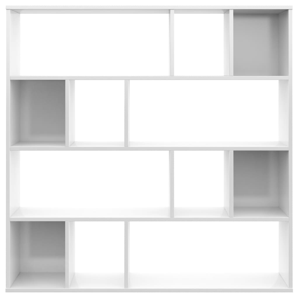 Room Divider/Book Cabinet High Gloss White 110x24x110 cm Chipboard 5