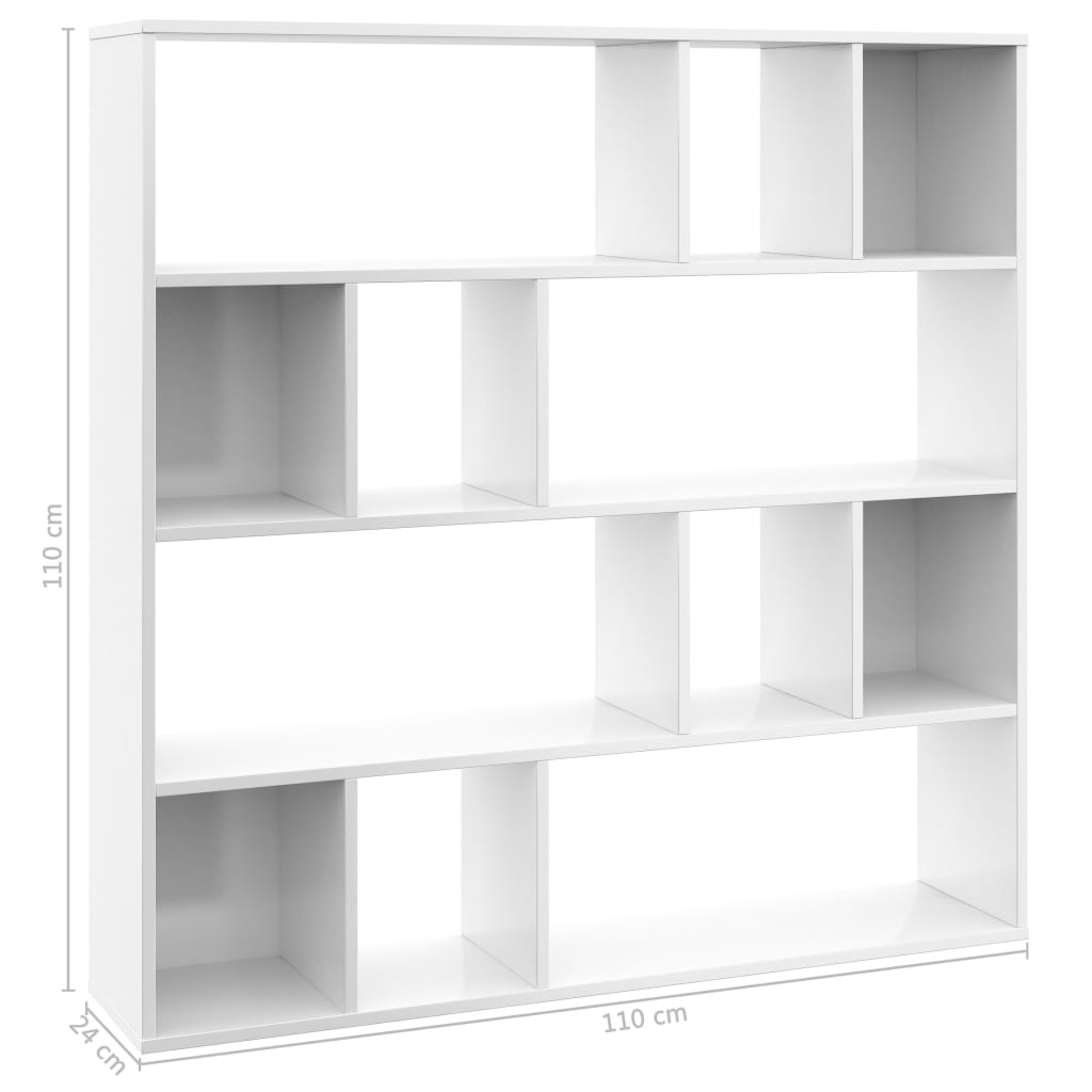 Room Divider/Book Cabinet High Gloss White 110x24x110 cm Chipboard 7