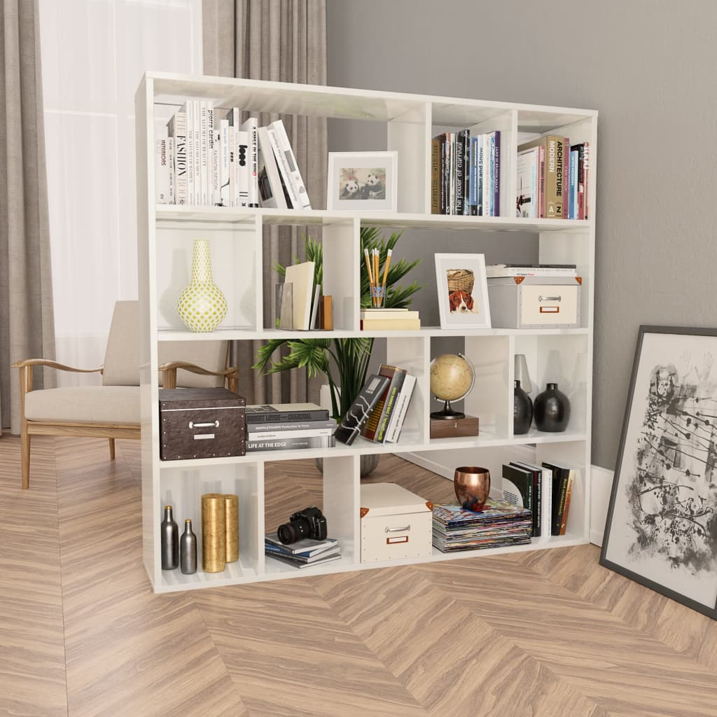 Room Divider/Book Cabinet High Gloss White 110x24x110 cm Chipboard