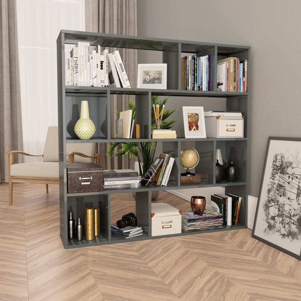 Room Divider/Book Cabinet High Gloss Grey 110x24x110 cm Chipboard