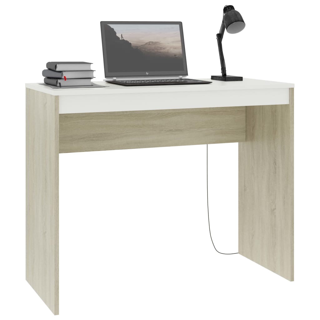 Desk White and Sonoma Oak 90x40x72 cm Chipboard 3