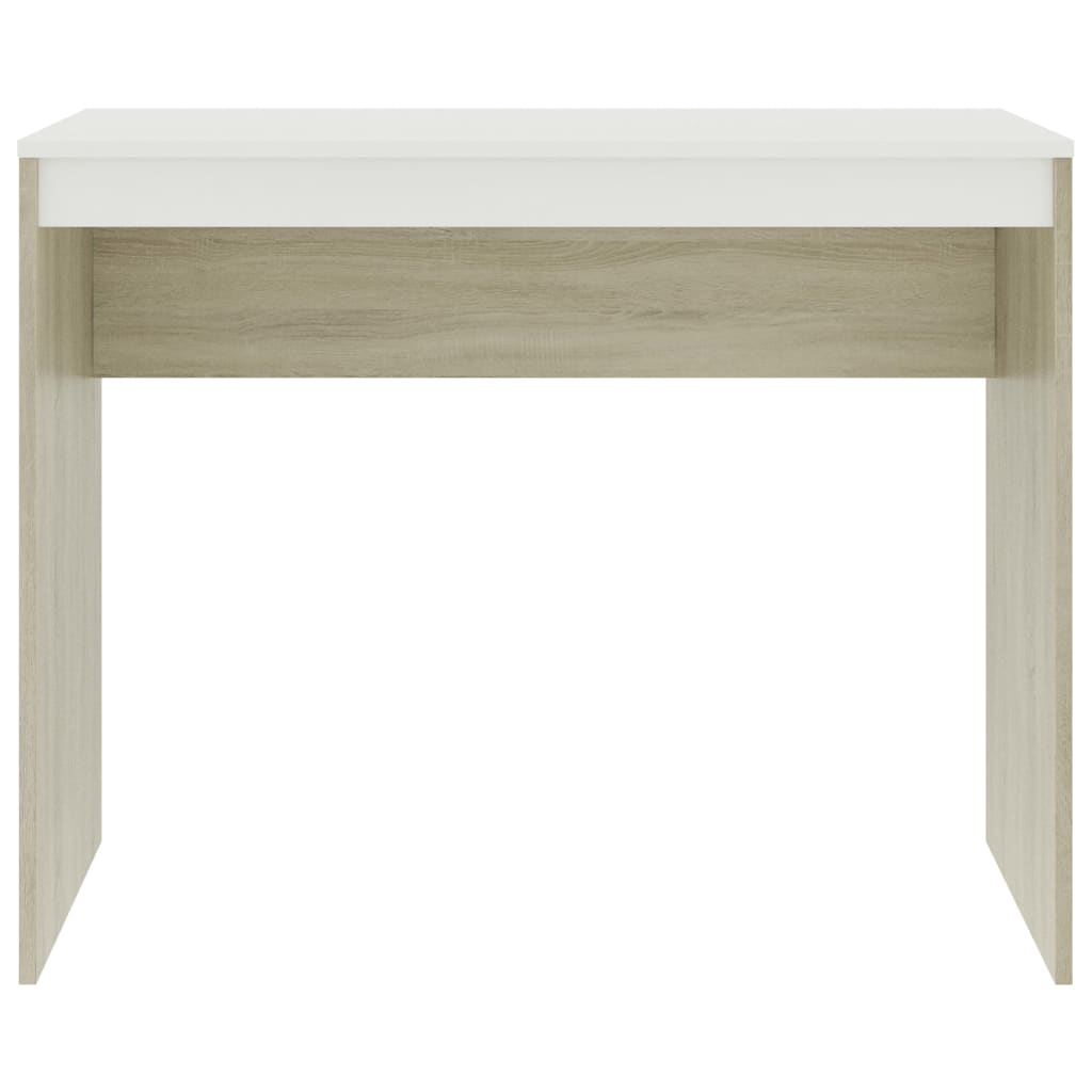Desk White and Sonoma Oak 90x40x72 cm Chipboard 4
