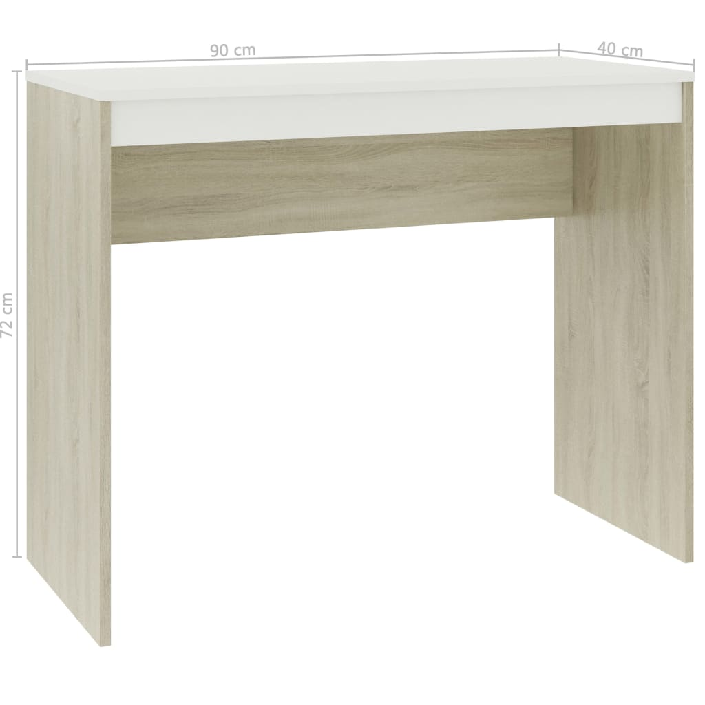 Desk White and Sonoma Oak 90x40x72 cm Chipboard 6