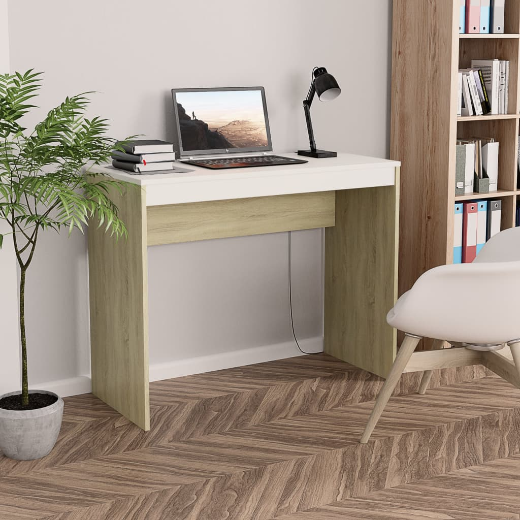 Desk White and Sonoma Oak 90x40x72 cm Chipboard 1