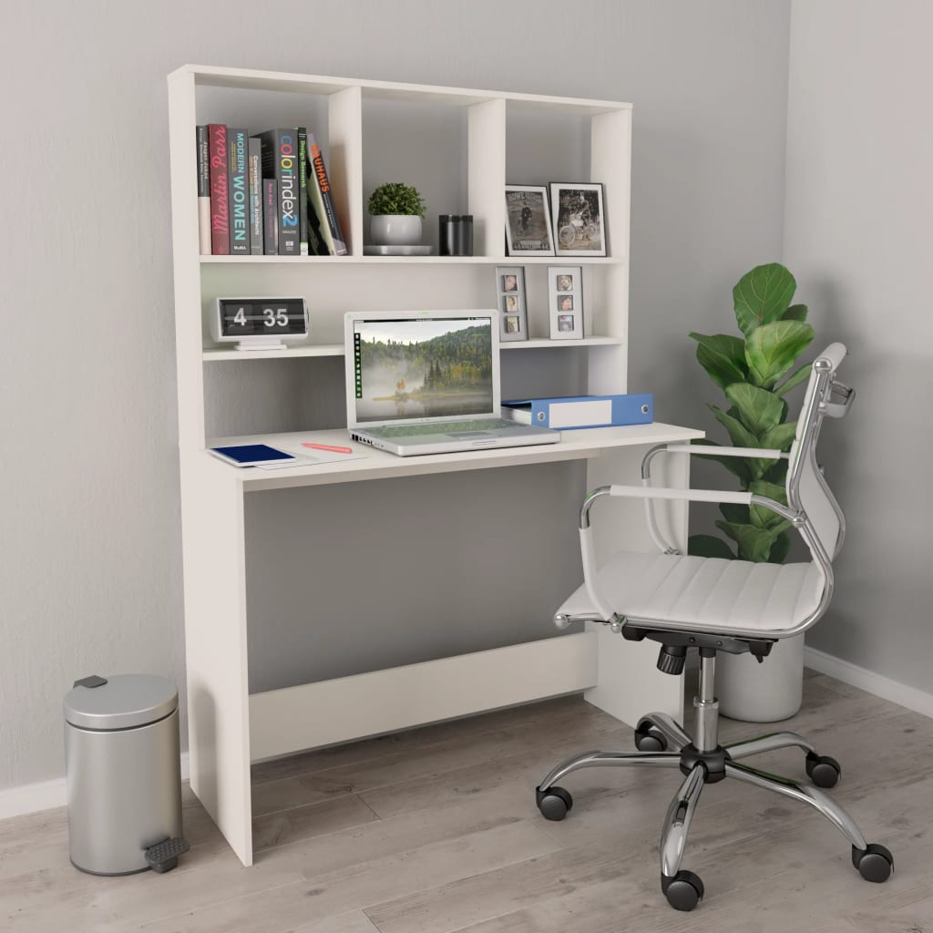 Desk with Shelves White 110x45x157 cm Chipboard 1