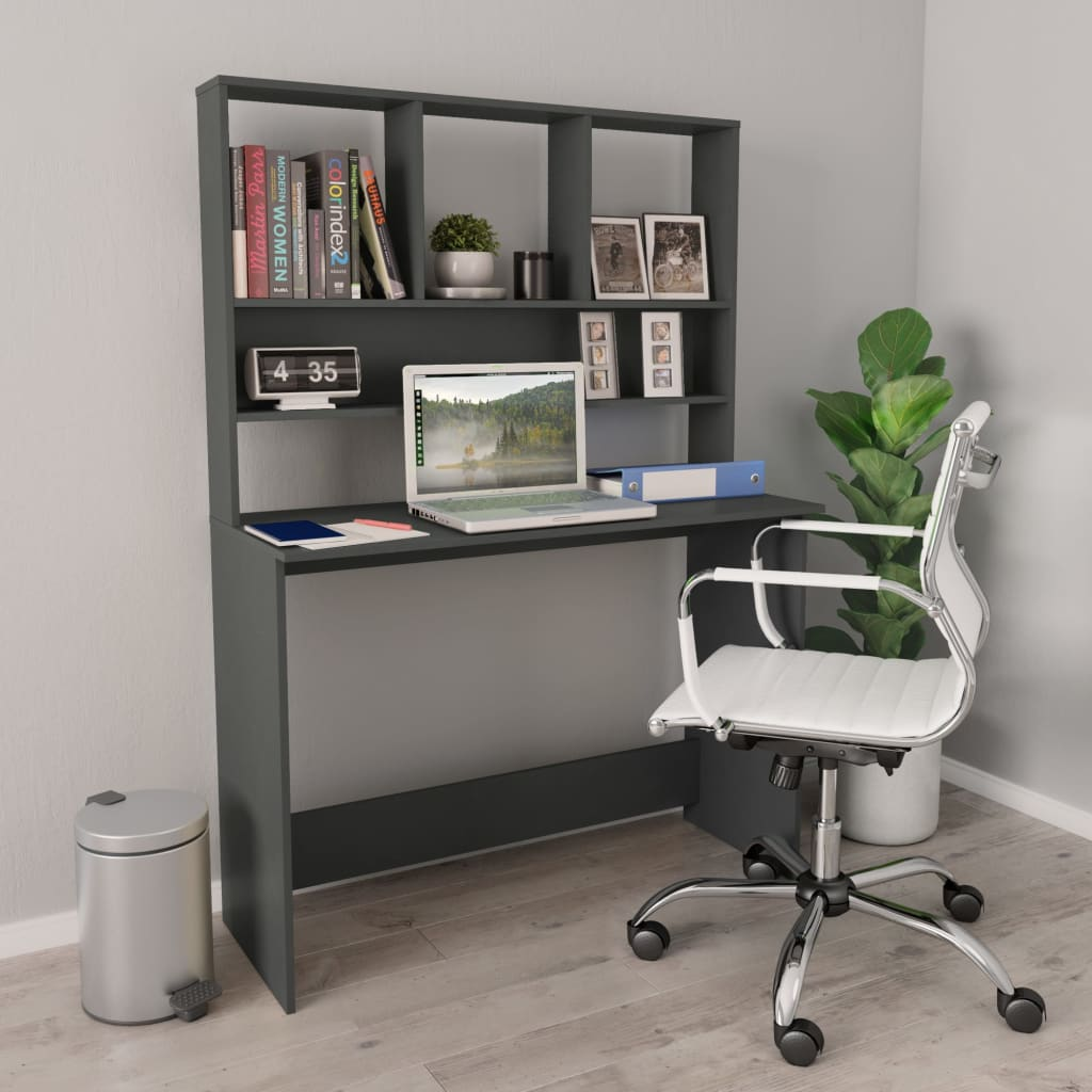 Desk with Shelves Grey 110x45x157 cm Chipboard
