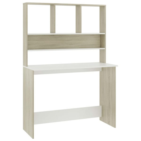 Desk with Shelves White and Sonoma Oak 110x45x157 cm Chipboard 2