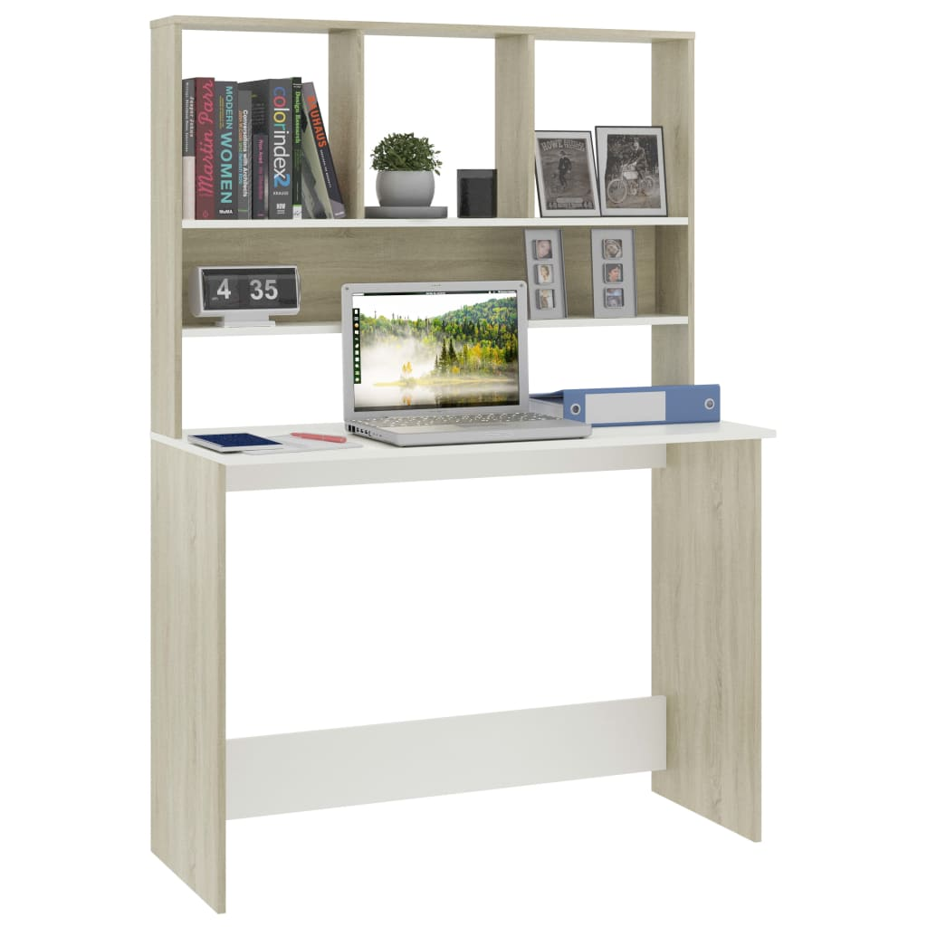 Desk with Shelves White and Sonoma Oak 110x45x157 cm Chipboard 3