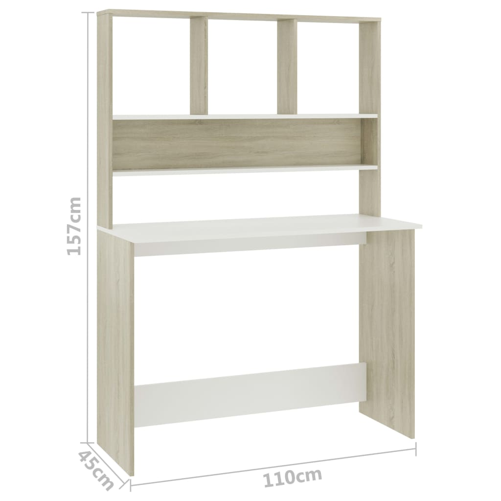 Desk with Shelves White and Sonoma Oak 110x45x157 cm Chipboard 6