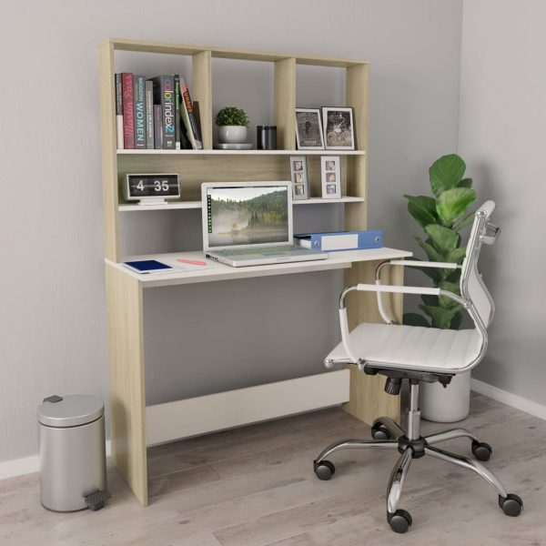 Desk with Shelves White and Sonoma Oak 110x45x157 cm Chipboard 1