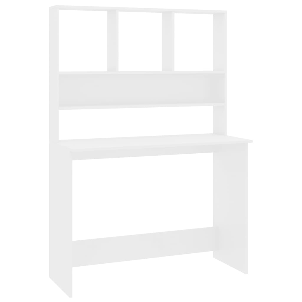 Desk with Shelves High Gloss White 110x45x157 cm Chipboard 2