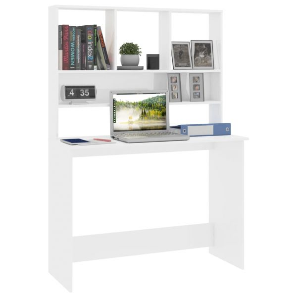 Desk with Shelves High Gloss White 110x45x157 cm Chipboard 3