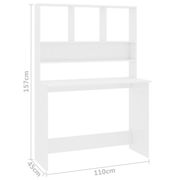 Desk with Shelves High Gloss White 110x45x157 cm Chipboard 6