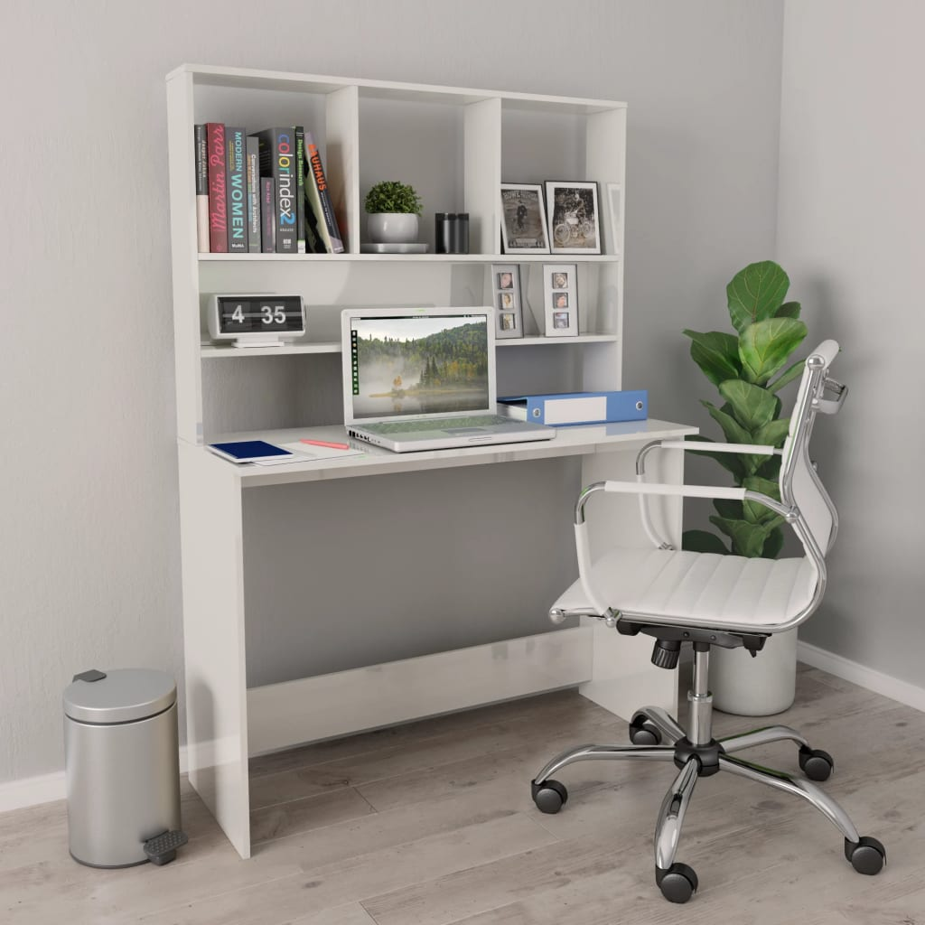 Desk with Shelves High Gloss White 110x45x157 cm Chipboard 1