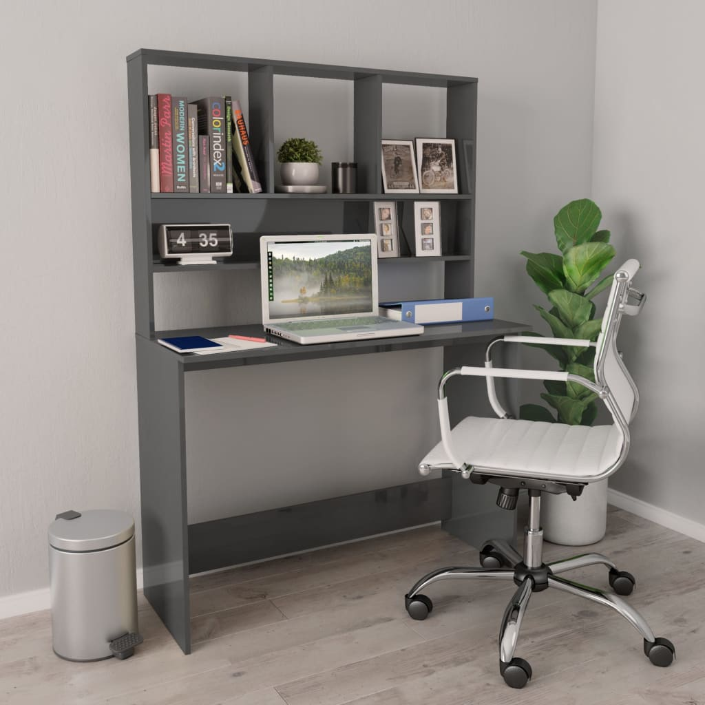 Desk with Shelves High Gloss Grey 110x45x157 cm Chipboard