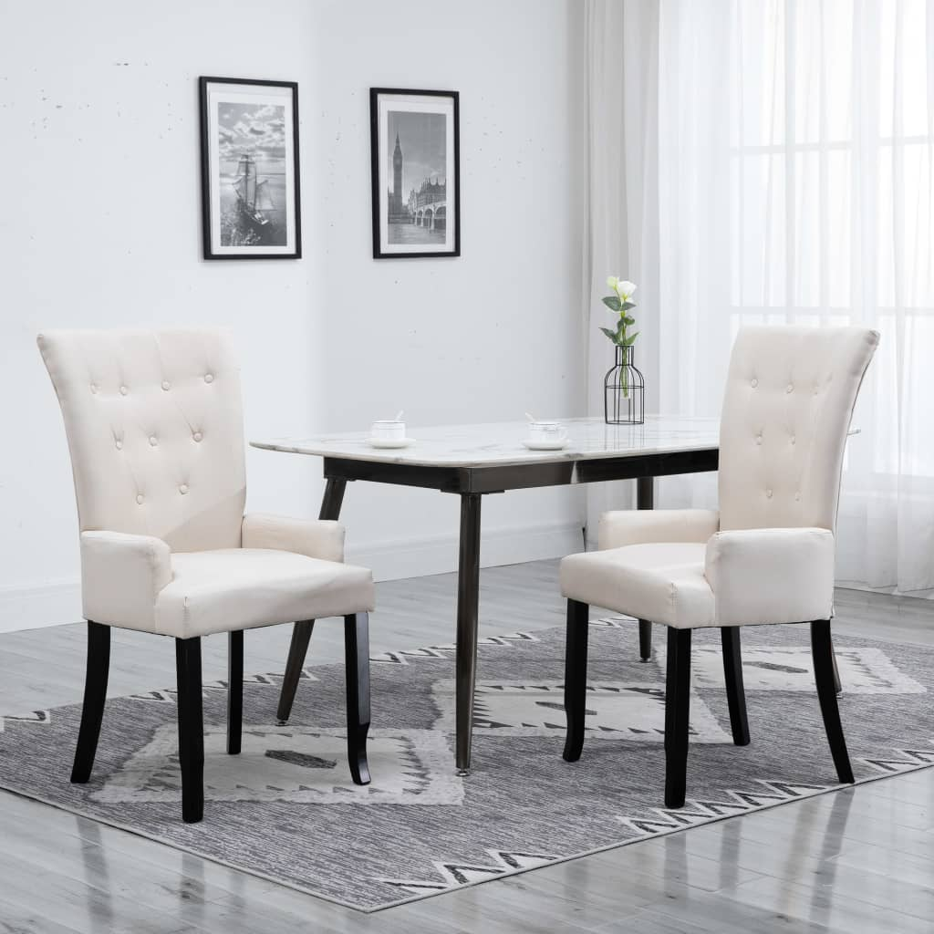 Dining Chairs with Armrests 2 pcs Beige Fabric