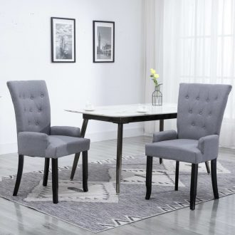 Dining Chairs with Armrests 2 pcs Light Grey Fabric 1
