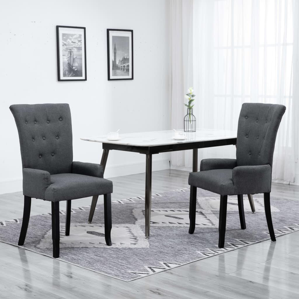 Dining Chairs with Armrests 2 pcs Dark Grey Fabric