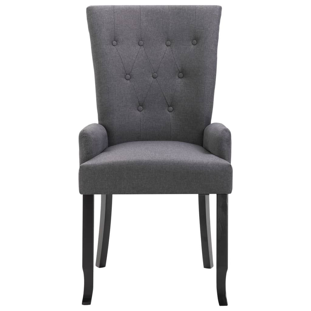 Dining Chairs with Armrests 4 pcs Dark Grey Fabric 4
