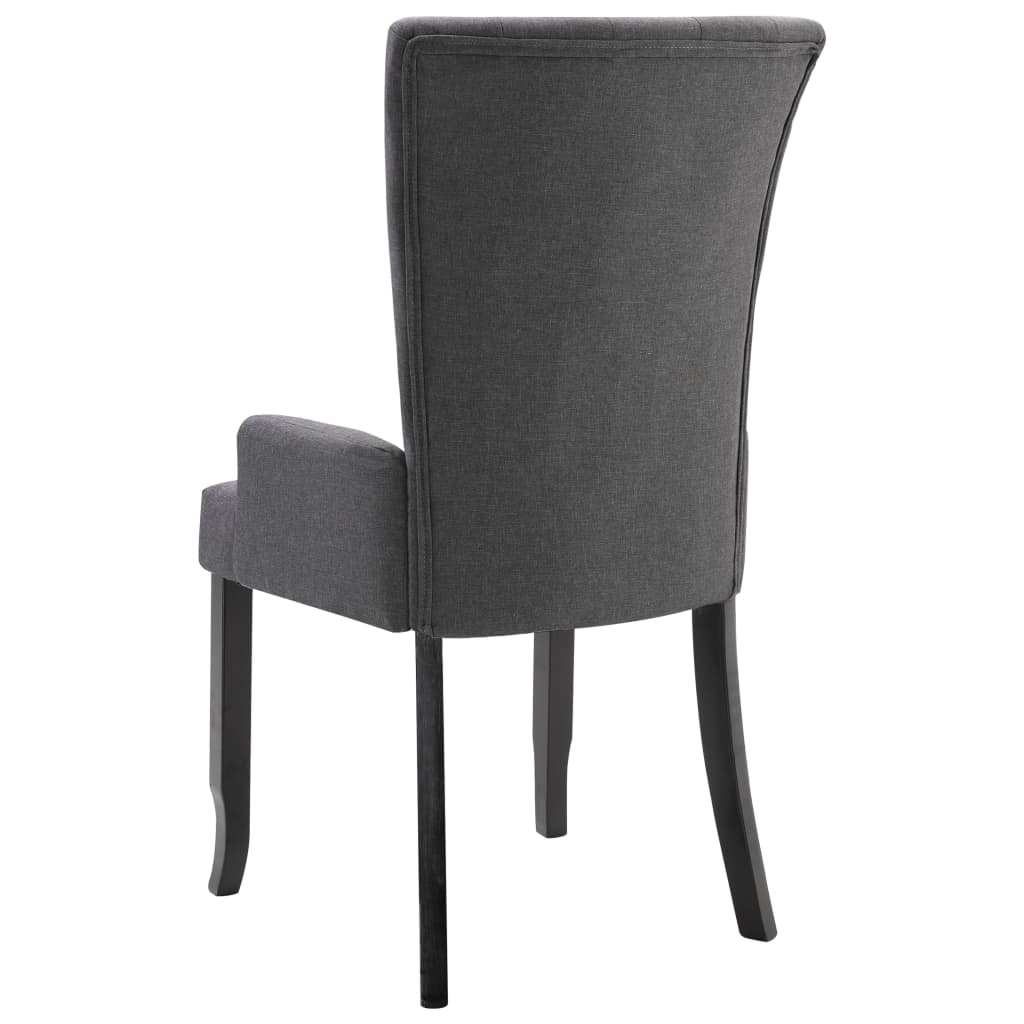 Dining Chairs with Armrests 4 pcs Dark Grey Fabric 6