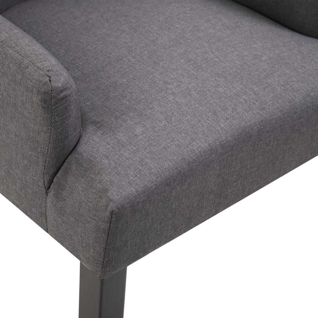 Dining Chairs with Armrests 4 pcs Dark Grey Fabric 7