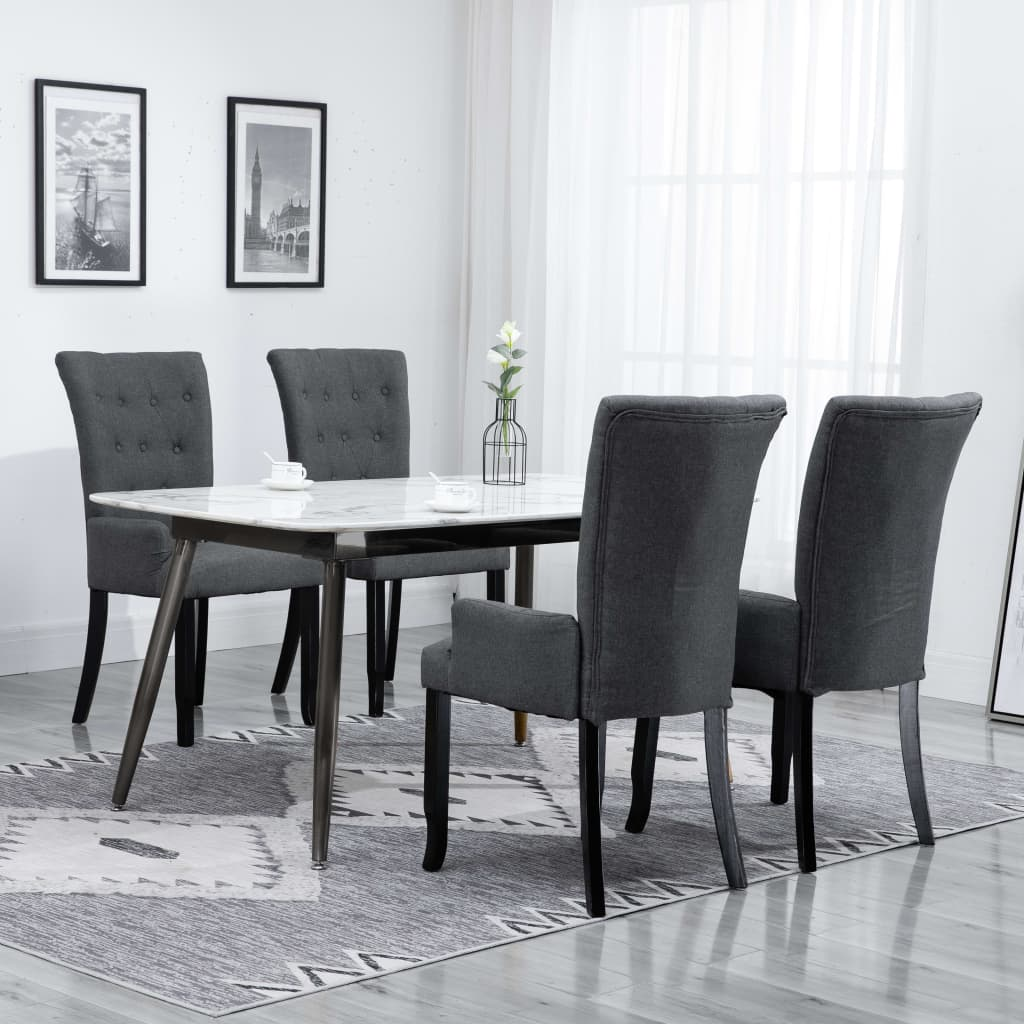 Dining Chairs with Armrests 4 pcs Dark Grey Fabric 1