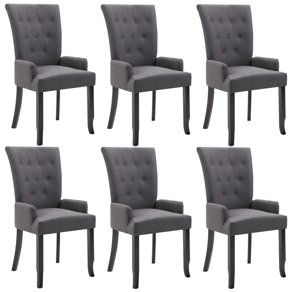 Dining Chairs with Armrests 6 pcs Dark Grey Fabric 2
