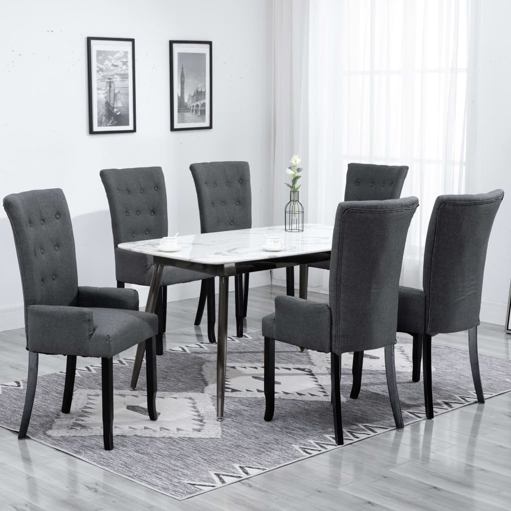 Dining Chairs with Armrests 6 pcs Dark Grey Fabric