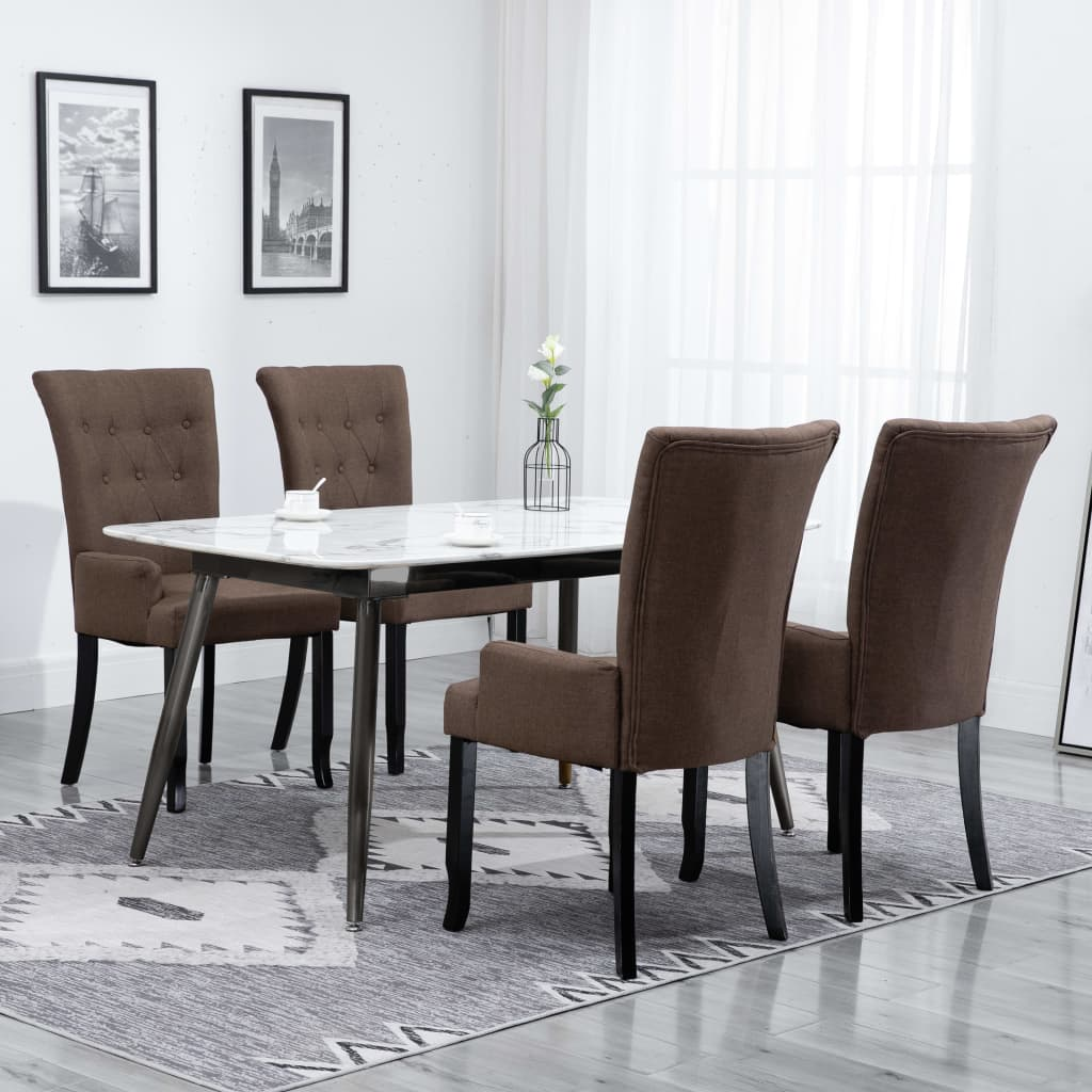 Dining Chairs with Armrests 4 pcs Brown Fabric