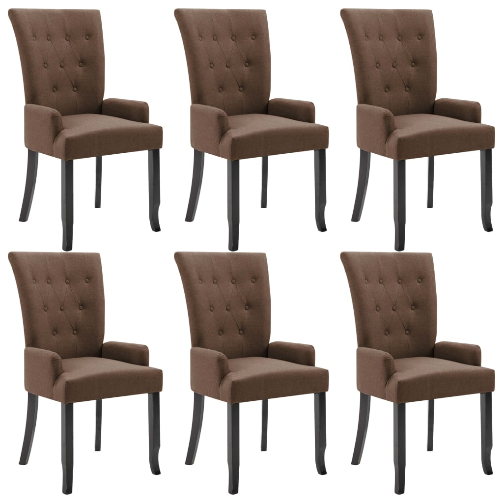 Dining Chairs with Armrests 6 pcs Brown Fabric 2