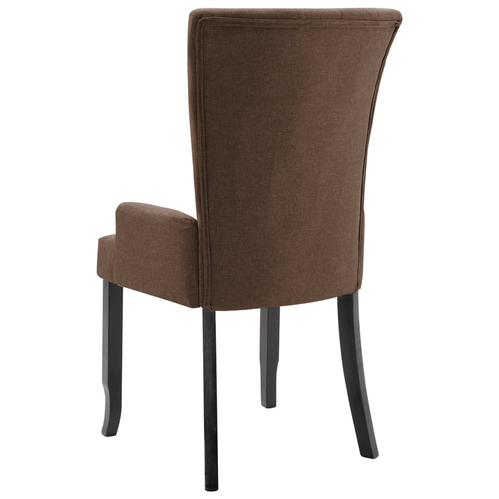 Dining Chairs with Armrests 6 pcs Brown Fabric 6