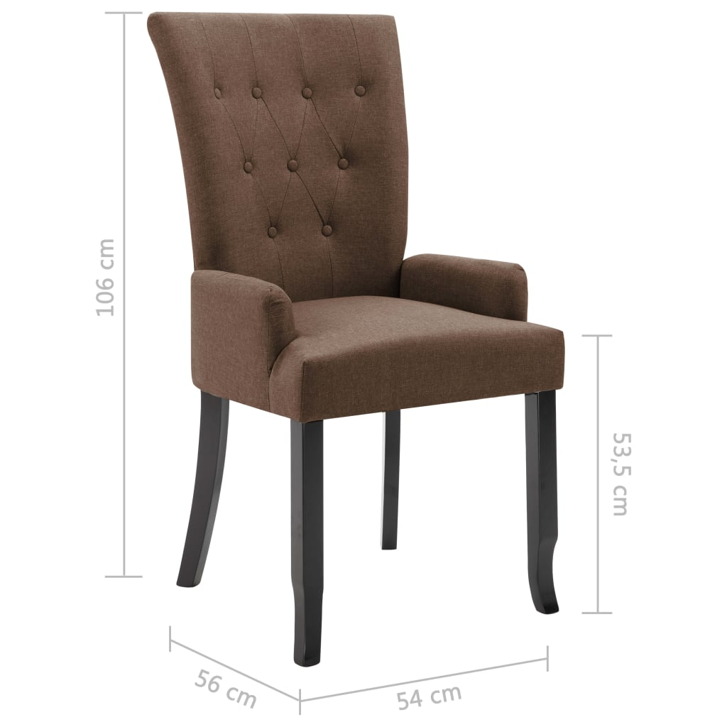 Dining Chairs with Armrests 6 pcs Brown Fabric 8