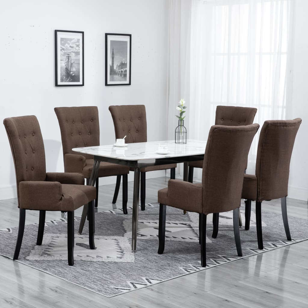 Dining Chairs with Armrests 6 pcs Brown Fabric 1