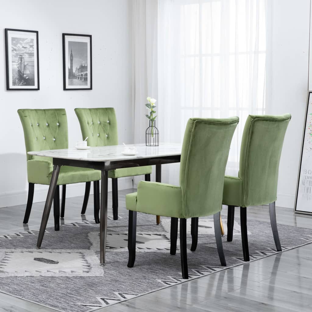 Dining Chair with Armrests 4 pcs Light Green Velvet