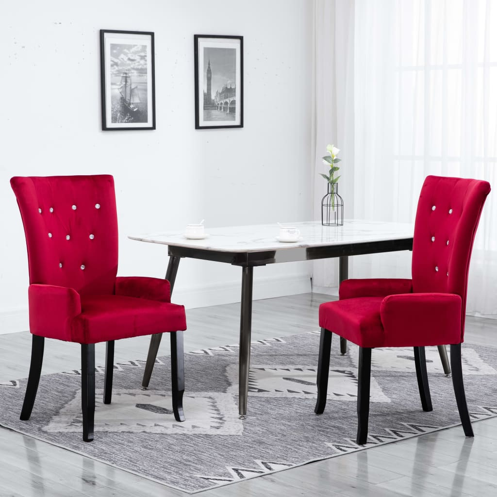 Dining Chair with Armrests 2 pcs Red Velvet