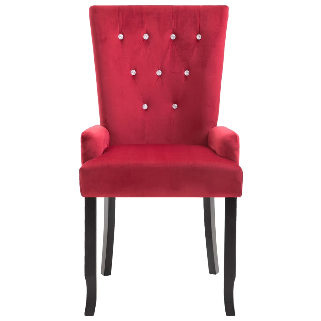 Dining Chair with Armrests 4 pcs Red Velvet 4