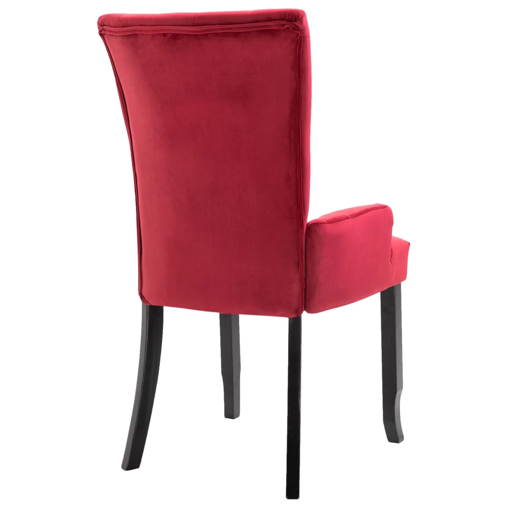 Dining Chair with Armrests 4 pcs Red Velvet 6