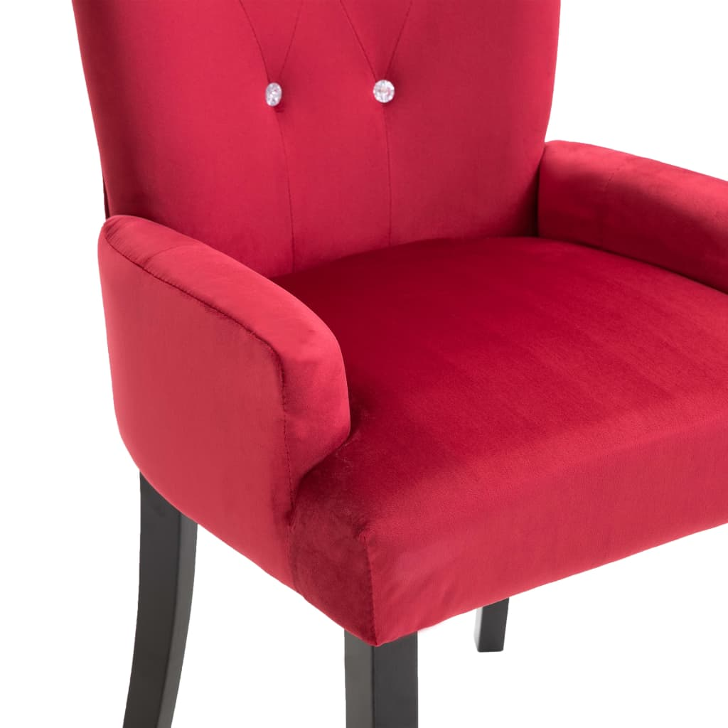 Dining Chair with Armrests 4 pcs Red Velvet 7