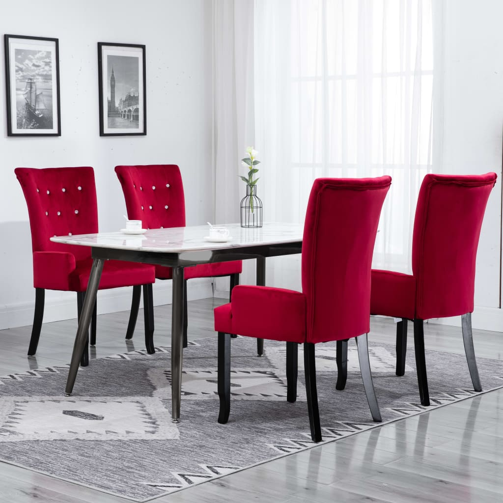 Dining Chair with Armrests 4 pcs Red Velvet 1