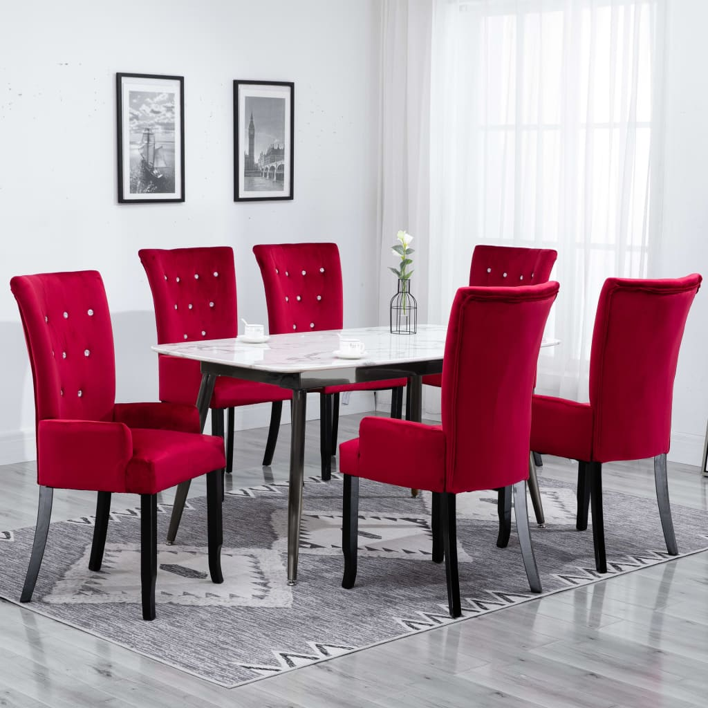 Dining Chair with Armrests 6 pcs Red Velvet