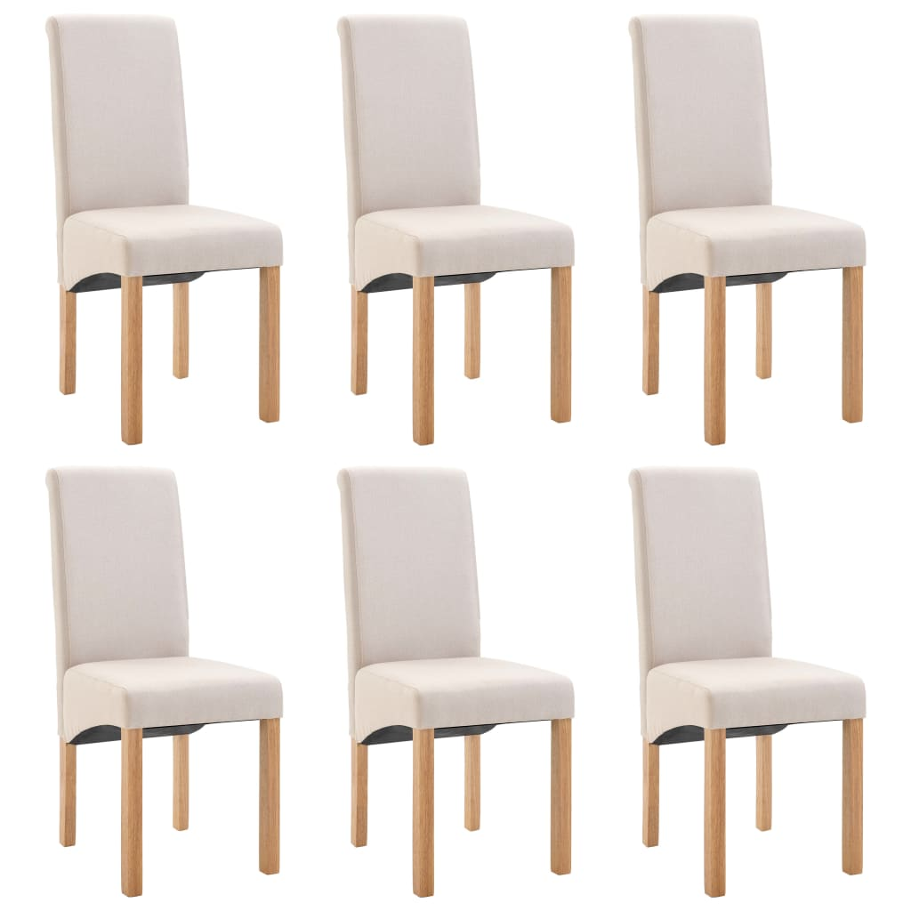 Dining Chairs 6 pcs Cream Fabric 2