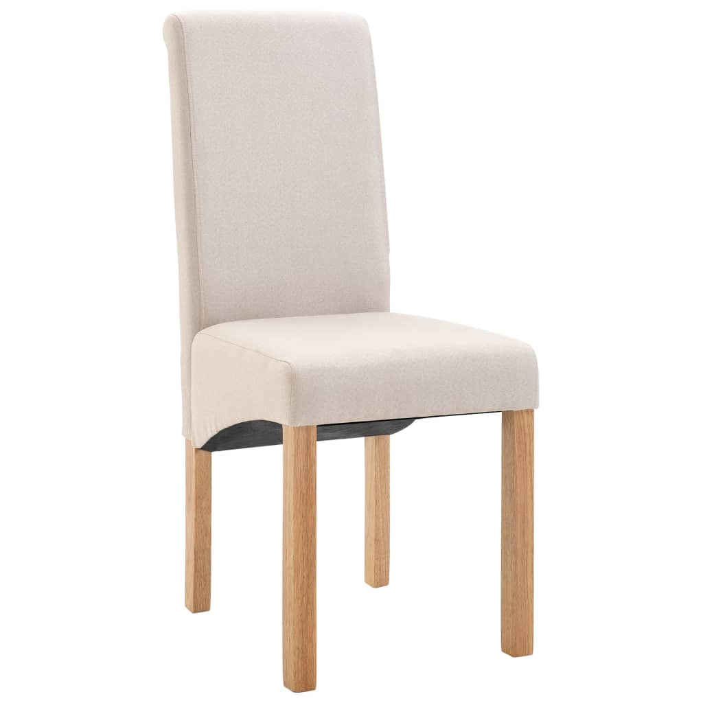 Dining Chairs 6 pcs Cream Fabric 3