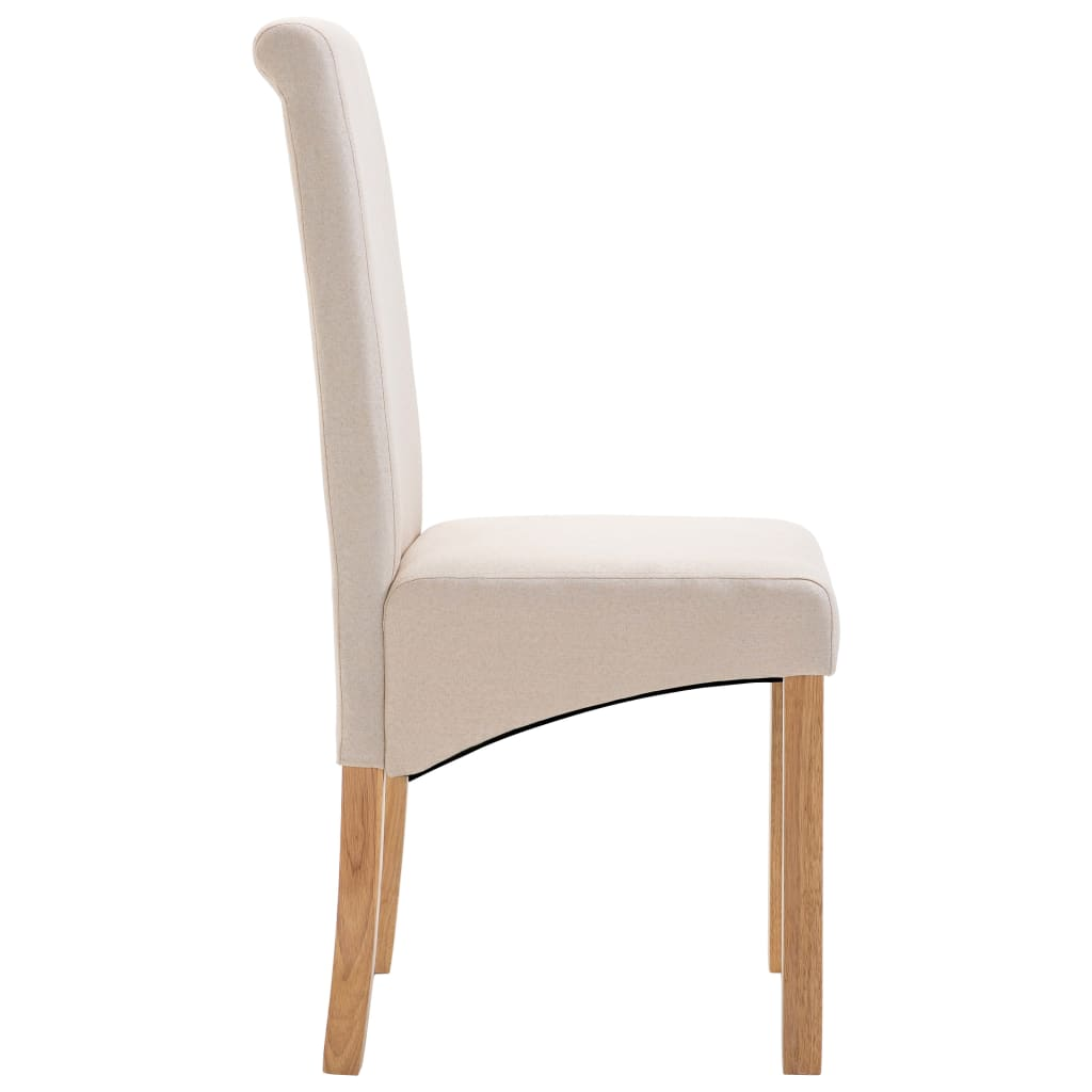 Dining Chairs 6 pcs Cream Fabric 5