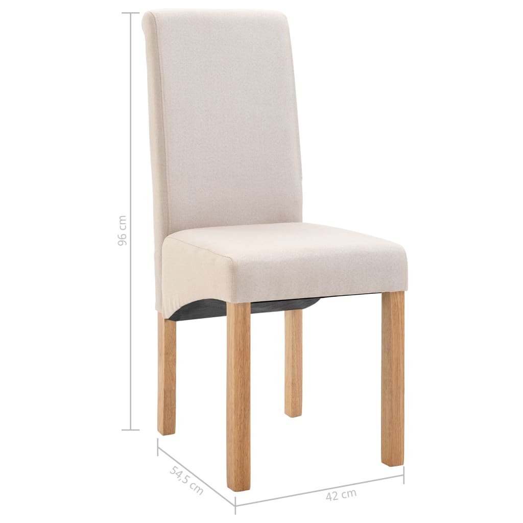 Dining Chairs 6 pcs Cream Fabric 9